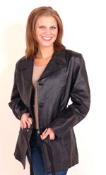 A38 Ladies Leather Blazer Coat