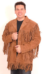mens split suede fringe leather jacket with buttons