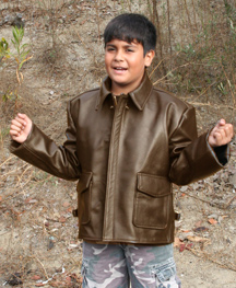 Kids Indy Leather Bomber Jacket