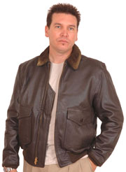 G1 Navy Leather Jacket with Fur Collar