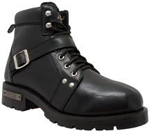 MB9143 Mens Ride Tecs Leather Lace Up Boots with Belt Buckle Strap and Side Zipper