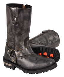 WB9362 Ladies Milwaukee Distress Grey Leather 11 inch Harness Boots with Cap Toe Finish and Side Zipper
