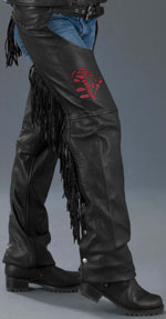 Leadies Red Rose Chaps with Fringe