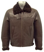 Mens B3 Bomber Jacket made with Brown Fur Shearling Leather