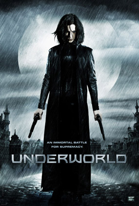 Celine from the Movie Underworld wearing a long leather trench coat