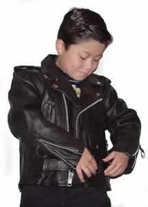 K1010 Kids Motorcyle Leather Biker Jacket made for boys and Girls