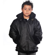 K109 Boys Leather Coat with Black Fur and Hood