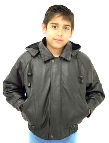1627f8740501 K15 Kids Leather Bomber Jacket with Removable Hood