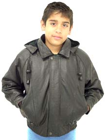 Kids Leather Waist JAcket with Hood