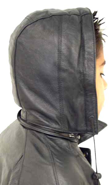 K15 Kids Leather Bomber Jacket With Removable Hood Leather Com