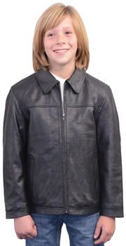 K1940 Kids Leather Stadium Jacket with Plain Cuffs and Waist
