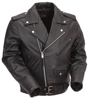 K1FM Kids Basic Biker Leather Jacket with Crossover Collar ...