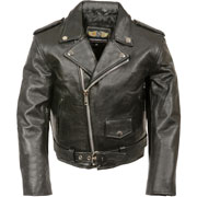 K2010 Kids Motorcycle Leather Biker Jacket with Half Belt