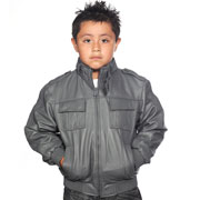 K518 Boys Grey Waist Jacket with Kosack Knit Collar and Epaulets