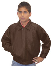 K5 Kids Brown Leather Bomber Waist Jacket with Zipper Wind Flap Cover