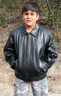 Kids K205 Lambskin Leather Bomber Waist Jacket available in San