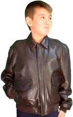 Kids A2 Air Force Leather Bomber Jacket Made in the USA