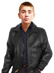 Kids Black G1 Navy Leather Bomber Jacket Made in the USA