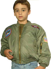 Kids MA1 Green Nylon Jacket