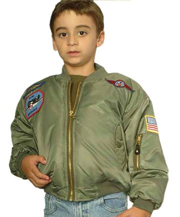 KMA1 Kids MA1 Green Nylon Military Bomber Jacket with Patches ...