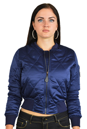 Ladies MA1Q Blue Quilted Nylon Military Pilot Specs Aviation Bomber Jacket