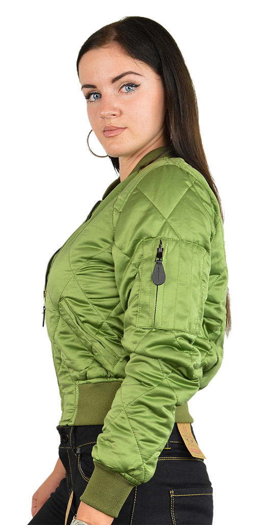 Ladies Ma1q Green Nylon Military Pilot Specs Quilted Bomber Jacket