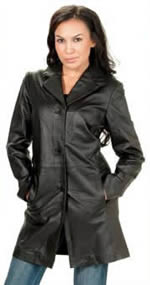 Ladies Lisel Lambskin Long Leather Coat with Buttons