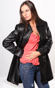 B300 Ladies Lambskin Leather Zipper Coat