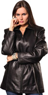 A21781 LADIES BELTED LEATHER JACKET
