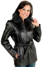 ladies leather coat with fur collar