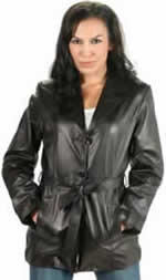 NZ521 Ladies Lambskin Belted Jacket