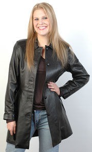 Ladies USA Made 3 quarter Long Ladies Leather Button Coat