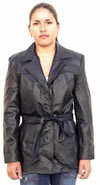 B2081 LADIES BELTED LEATHER JACKET