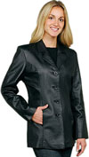 W41P Ladies Plus Size Leather Blazer