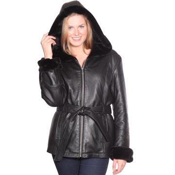 B617 Ladies Lambskin 3 Quarter Long Coat with Hood and Faux Fur ...