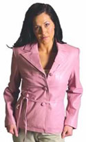 Style A21026 Ladies  Belted  Blazer  -- San Diego Leather Jacket