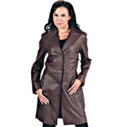 Stichsee Ladies Long Brown Leather Coat