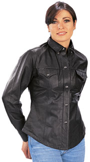 B2680 Ladies Western Style Leather Motorcycle Shirt with Metal Snaps