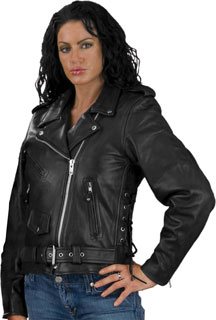 The C6019 Long Ladies Classic Motorcycle Jacket with Side Adjusting