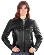 C6537 Ladies Vented Leather MC Jacket