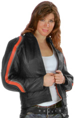 C6632 Ladies Vented With Orange & Grey Stripe Jacket