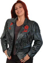 Janice Leather Rose Jacket with Fringe and Buttons
