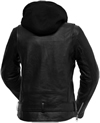 LB185 Women Classic Motorcycle Lambskin Jacket with Full Belt and Removable Hoodie Back View