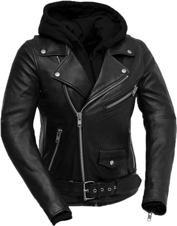 LB185 Women Classic Motorcycle Lambskin Jacket with Full Belt and Removable Hoodie Large View