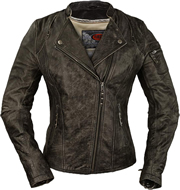 Ladies Classic Motorcycle Leather Jacket with Crossover Collar LC160