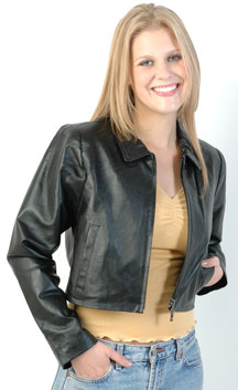 A16 Ladies Soft Extra Short Leather Jacket