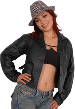 A32 Ladies Short Leather Button Jacket Sale