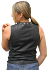 LV2682 Ladies Leather Vest with Metal Eyelets and Ajustable Side Laces Back View