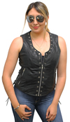 LV2682 Ladies Leather Vest with Metal Eyelets and Ajustable Side Laces Front View 2