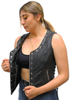 LV2682 Ladies Leather Vest with Metal Eyelets and Ajustable Side Laces Inside Pocket View